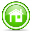 Home green glossy icon on white background — Stock Photo