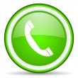 Telephone green glossy icon on white background - Stock Photo