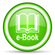 Royalty-Free Stock Photo: E-book green glossy icon on white background