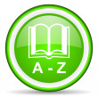 图库照片: Dictionary green glossy icon on white background