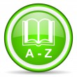 Zdjęcie stockowe: Dictionary green glossy icon on white background
