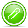Paper clip green glossy icon on white background — Stock Photo #16205711