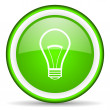 Stock Photo: Light bulb green glossy icon on white background