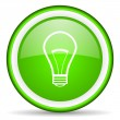 Light bulb green glossy icon on white background — Stock Photo