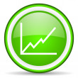 Chart green glossy icon on white background — Stock Photo