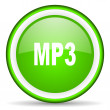 Stock Photo: Mp3 green glossy icon on white background