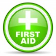 First aid green glossy icon on white background — Stock Photo