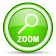 Zoom green glossy icon on white background — Stock Photo #16206325