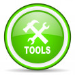 Foto Stock: Tools green glossy icon on white background