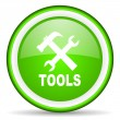 Zdjęcie stockowe: Tools green glossy icon on white background