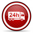 Foto Stock: Delivery 24h red glossy icon on white background