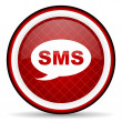 Foto Stock: Sms red glossy icon on white background