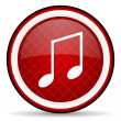 Music red glossy icon on white background — Stock Photo