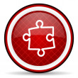 Puzzle red glossy icon on white background — стоковое фото #16207023