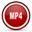 Mp4 red glossy icon on white background — Stock Photo