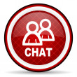 Chat red glossy icon on white background — Stockfoto #16207343