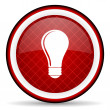 Light bulb red glossy icon on white background — Stock Photo