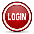 Login red glossy icon on white background — Stock Photo #16207649