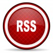 Rss red glossy icon on white background — Stock Photo #16207705
