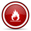Flames red glossy icon on white background — Stock Photo #16207771