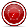 Stock Photo: Clock red glossy icon on white background