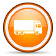 Delivery orange glossy circle icon on white background — Stock Photo #16209525