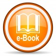 E-book orange glossy circle icon on white background — Stock Photo