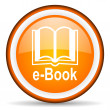 E-book orange glossy circle icon on white background — Stock Photo #16209535