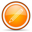 Pencil orange glossy circle icon on white background — Stock Photo