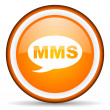 Stock Photo: Mms orange glossy circle icon on white background