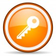 Key orange glossy ircle con on white background — Stock Photo