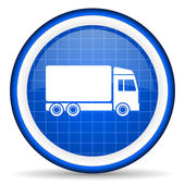 Delivery blue glossy icon on white background — Stock Photo