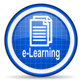 E-learning blue glossy icon on white background — Stock Photo