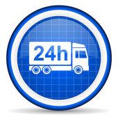 Icona lucido di consegna 24h blu su sfondo bianco — Foto Stock