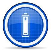 Battery blue glossy icon on white background — 图库照片