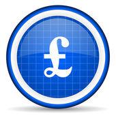 Pound blue glossy icon on white background — Stock Photo
