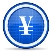 Yen blue glossy icon on white background — Stock Photo