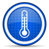 Thermometer blue glossy icon on white background — Stock Photo