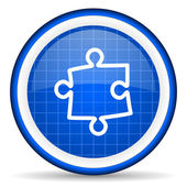 Puzzle blue glossy icon on white background — 图库照片