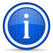 Information blue glossy icon on white background — Stock Photo