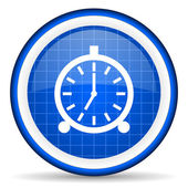 Alarm clock blue glossy icon on white background — ストック写真