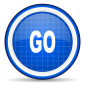 Go blue glossy icon on white background — Stock Photo
