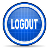 Logout blue glossy icon on white background — Stock Photo