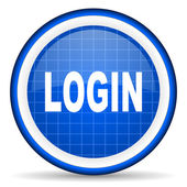 Login blue glossy icon on white background — Stock Photo