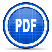 Pdf blue glossy icon on white background — Stock Photo