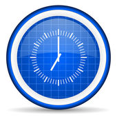 Clock blue glossy icon on white background — Photo