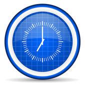 Clock blue glossy icon on white background — Stock Photo