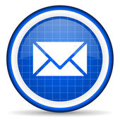 Mail blue glossy icon on white background — Stock Photo