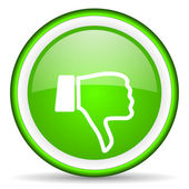 Thumb down green glossy icon on white background — Stock Photo