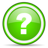 Question mark green glossy icon on white background — Stock Photo